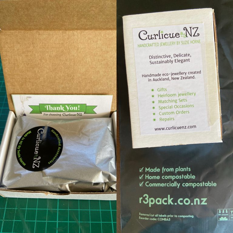 Cardboard box and compostable courier bag packaging