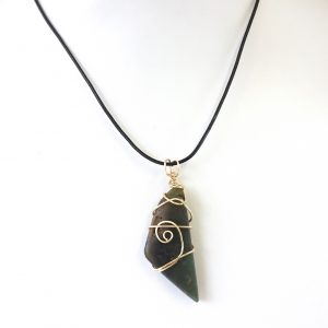 Custom Mens Greenstone Adjustable Necklace wrapped with gold plated wire