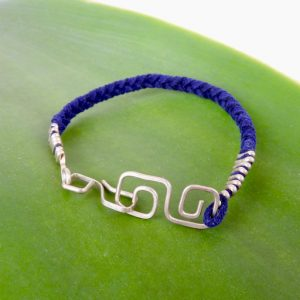 Eco Silver Double Square Spiral Braided Mens Bracelet