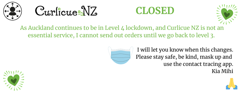At level 4, Curlicue NZ is unable to send items. Once we are back in level 3, I can do so safely